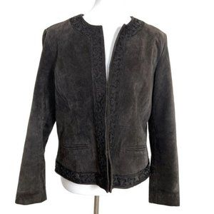 Chico's Suede Leather Moto Jacket Size 2 Large
